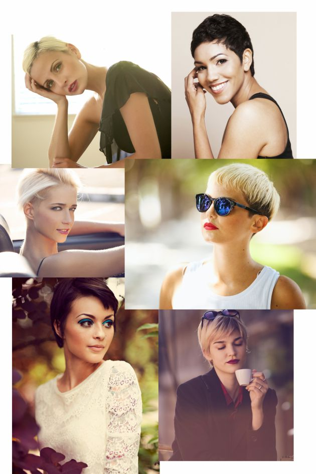 Preuve que les femmes aux coupes courtes sont aussi très féminines !   Crédits : de gauche à droite, de haut en bas : Getty Images / 2HotBrazil ; Getty images / Image Source RF/Wonwoo Lee; Fotolia / Coka ; Getty Images/ themacx ; Getty Images / Marie Killen ; Getty Images / Dragan Radojevic